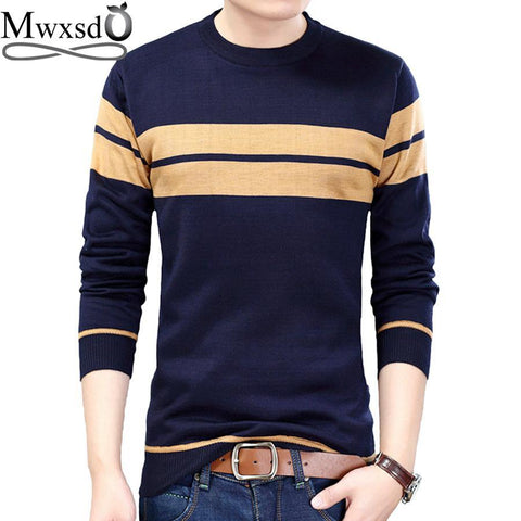 Mwxsd brand Men casual striped cotton pullover sweater high quality mens slim fit jumpers male cotton Christmas sweater - Chittili
