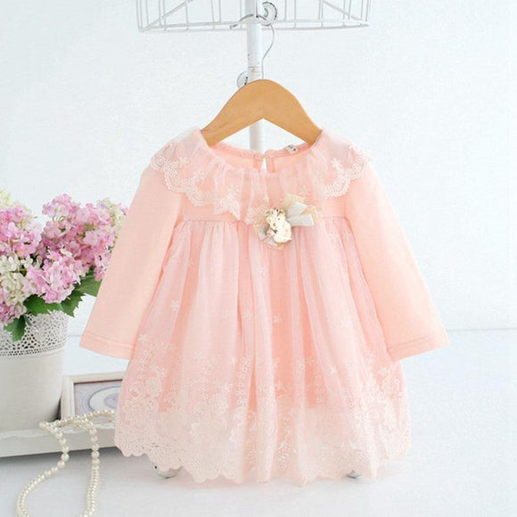 Baby Girl Dress 0-2Y Newborn Cute Baby Embroidery Cotton Dress Infant Baby Birthday Dress Baby Clothes with Toy Bear 2 Color - Chittili