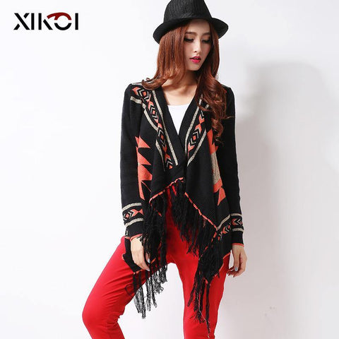 XIKOI Winter Tassel Women's Cardigans Kimono Sweater Fashion Geometric Thick Knitted Women Sweaters Casaquinho Poncho Rebeca - Chittili