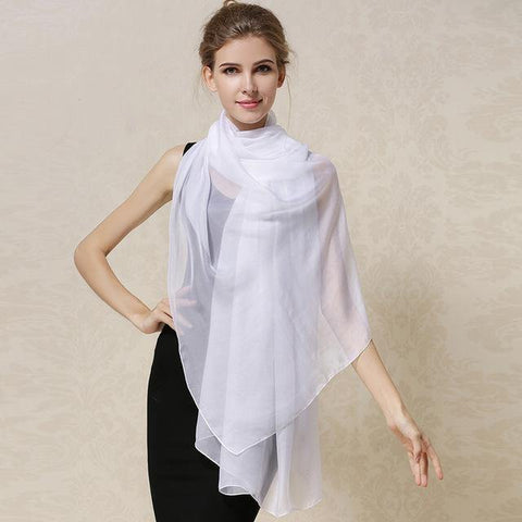 Natural Silk Scarves Female Top Grade Pure Color Real Silk Scarf Shawl Fashion Summer Shawls - Chittili