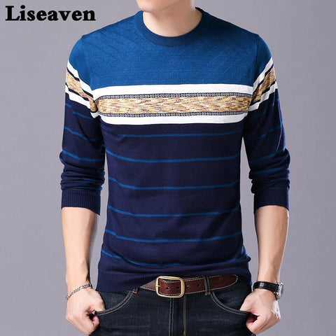 Liseaven Men Sweater O-Neck Casual Striped Sweaters Autumn Winter Brand Mens Pullovers - Chittili