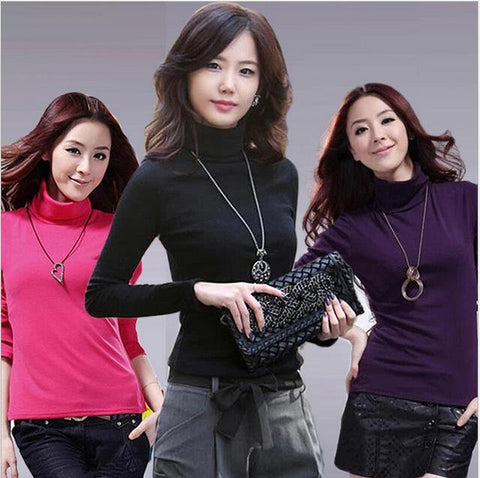 High quality Fashion wool turtleneck pullovers long sleeve big size women clothing - Chittili