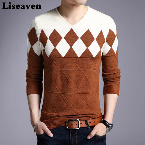 Liseaven Men Pullovers Cashmere Wool Sweater Long Sleeve Tops Christmas Sweaters Male Pullover Tops - Chittili