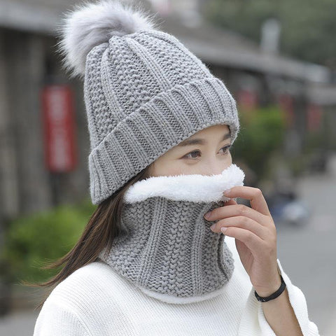 Autumn Winter Women's Hat Caps Knitted Wool Warm Scarf Thick Windproof Balaclava Multi Functional Hat Scarf Set For Women - Chittili
