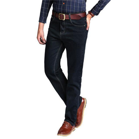 High Waist 100/% Cotton Mens Classic Jeans Male Straight Denim Pants Spring Winter Thick Jeans