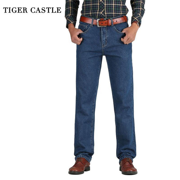 Men Cotton Straight Classic Jeans Denim Pants