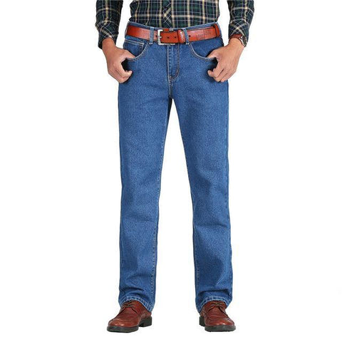 Men Cotton Straight Classic Jeans Denim Pants - Chittili