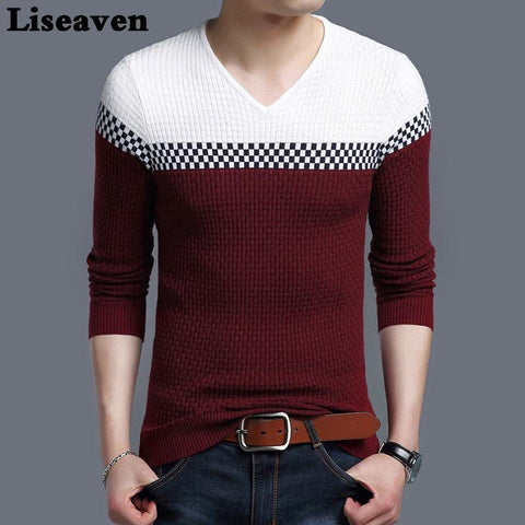 Liseaven Winter Men Pullover Sweater Casual Knitting Warm Sweaters Pattern V Neck Pullovers Brand Mens Clothing - Chittili