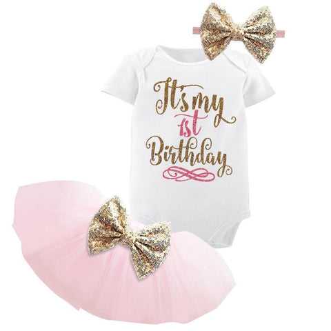 Baby Girl Birthday Dress Kids Baby Clothes Christening Dresses For Girls Party Wear freeshipping - Chittili