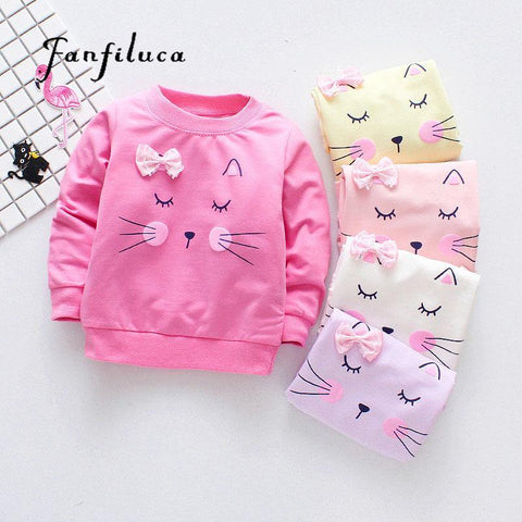 Brand New Girls T-Shirts Long Sleeve Girl Autumn Cat Tees Shirts Casual Tops Clothes Children Outwear Outfits - Chittili