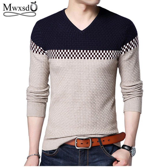 Mwxsd 2018 Winter New Arrivals Thick Warm Sweaters V-Neck  Wool Sweater Men Brand-Clothing Knitted Cashmere Pullover Men 66203