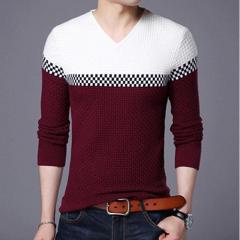 Mwxsd 2018 Winter New Arrivals Thick Warm Sweaters V-Neck  Wool Sweater Men Brand-Clothing Knitted Cashmere Pullover Men 66203 - Chittili