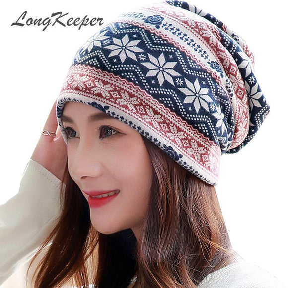 LongKeeper New Women Hat Polyester Adult Casual Snowflake Women's Hats Spring Autumn Female Cap Scarf Fashion Beanies