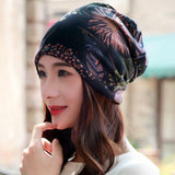 LongKeeper New Women Hat Polyester Adult Casual Snowflake Women's Hats Spring Autumn Female Cap Scarf Fashion Beanies - Chittili
