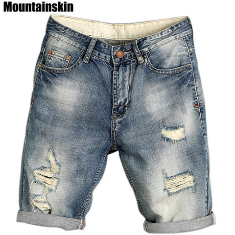 Men's Jogger Ripped Denim Shorts Hole Pop Streetwear Male Jeans Thin Fashion Brand Male Jeans - Chittili