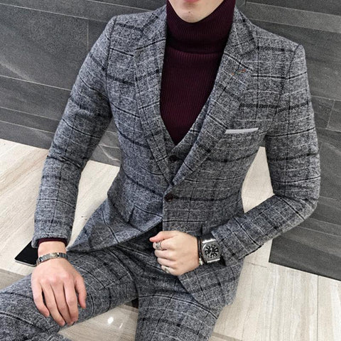 3 Pieces Suits Men British Latest Coat Pant Designs Black/Grey Mens Suit Autumn Winter Thick Slim Fit Plaid Wedding Tuxedos - Chittili