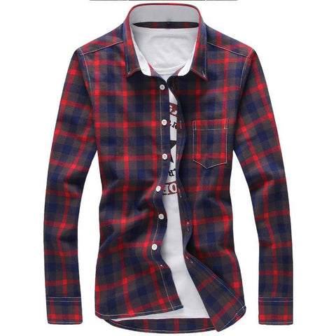 5XL Plaid Shirts Men Checkered Shirt Brand 2018 New Fashion Button Down Long Sleeve Casual Shirts Plus Size - Chittili