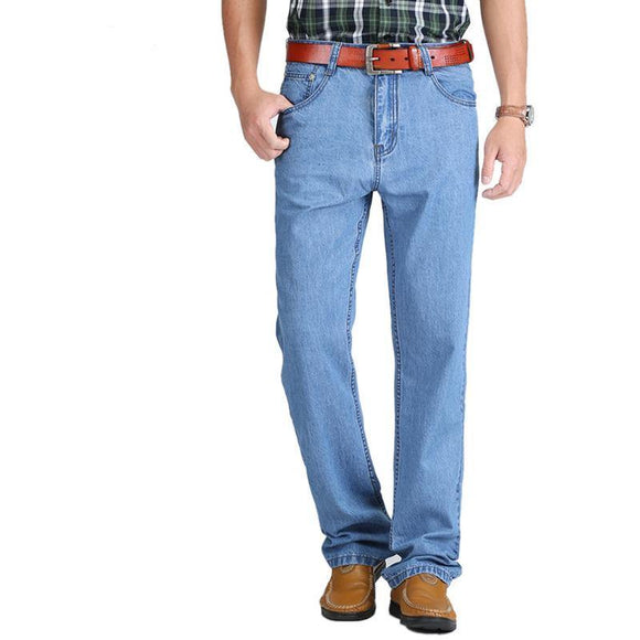 New 100% Cotton Thin Jeans Baggy Cotton Casual Trousers for Male High Waist Washed Denim Pants