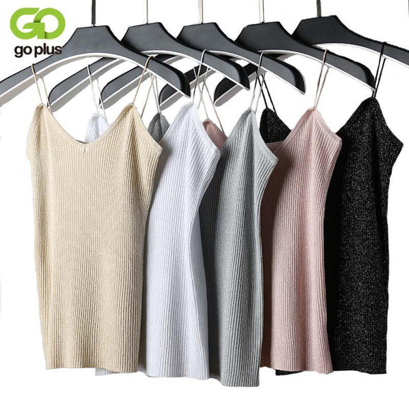 GOPLUS Sexy Knitted Tank Top Women Summer Crop top 2018 Solid Silver V Neck t-shirt Female Sleeveless Vest Casual Camis Blouse
