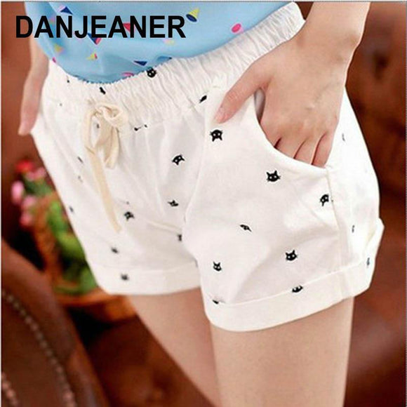 New Summer Shorts With Cats Pattern High Waist Elastic Cotton Short Fresh Floral Women Shorts Feminino A212 - Chittili