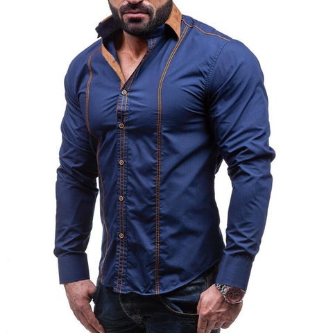 Casual Slim Solid Long Sleeve Shirt Men Business Social Plus Size Cotton Clothes - Chittili