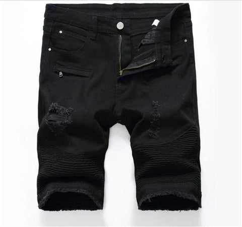 Distressed Men Denim skinny Jeans Shorts Black White Plus Size Ripped Biker Shorts Jeans Rasgado Masculino Summer Pants freeshipping - Chittili