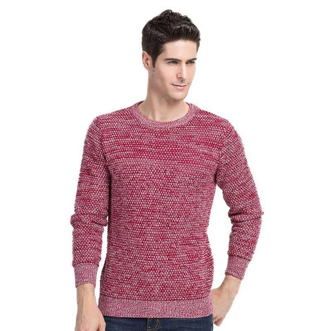 TIGER CASTLE Casual O-Neck Mens Pullovers Spring Autumn Quality Cashmere Wool Red Sweater Men Long Sleeve Slim Fit Pull Knitwear - Chittili
