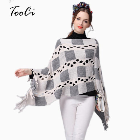 Fashion Spring Autumn Winter Women Hollow Plaid Tassels Sweater Ladies Tassels Poncho Long Knitted Pullovers Knitted Cape Coat - Chittili