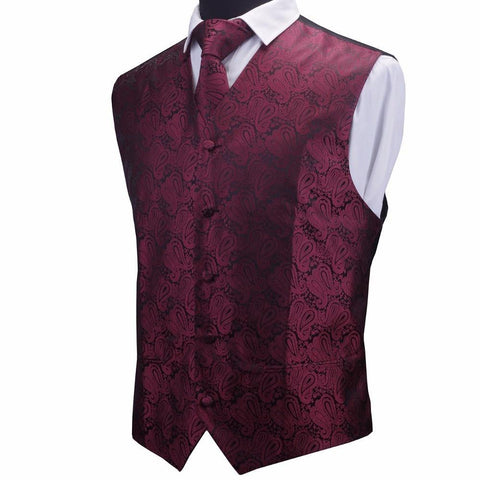 GUSLESON Mens Waistcoats Slim Fit Men Vest & Necktie & Handkerchief Set Paisley Coletes Chaleco Hombre For Party Wedding - Chittili
