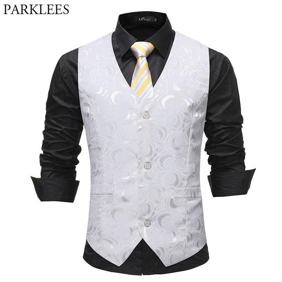 Mens Gentleman White Single Breasted Suit Vest 2018 Fashion Rose Printed Wedding Dress Vest Tuxedo Waistcoat for Business Man - Chittili