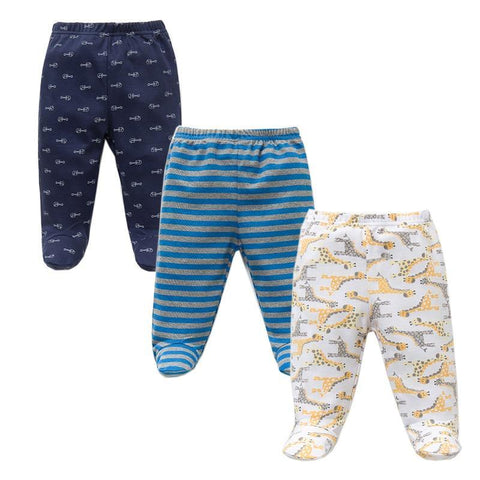 3PCS/Lot Spring Autumn Footed Baby Pants 100% Cotton Baby Girls Boys Clothes Unisex Casual Bottom PP Pants Newborn Baby Clothing freeshipping - Chittili