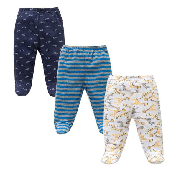 3PCS/Lot Spring Autumn Footed Baby Pants 100% Cotton Baby Girls Boys Clothes Unisex Casual Bottom PP Pants Newborn Baby Clothing - Chittili
