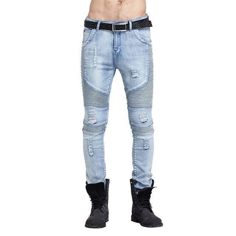 Hi-Street fashion brand Mens Ripped Rider Biker Jeans Motorcycle Slim Washed Black Blue Moto Denim Pants Joggers For Skinny Men - Chittili