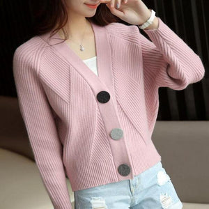 2018 Women Cardigans V- Neck Lady Sweater Long Sleeve Casual Loose Knitted Tops - Chittili