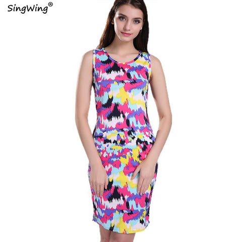 Singwing Spring Summer Women Casual Dress Fashion Sexy Beach O-neck Sleeveless Floral Splash Printed Celeb Bodycon Dresses - Chittili