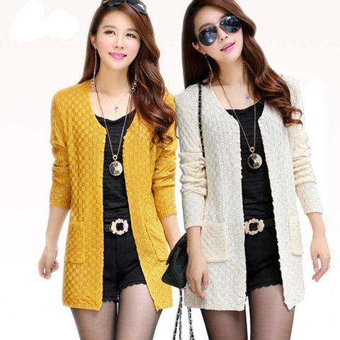 Long Sleeve Knitted Cardigans With Pockets - Chittili