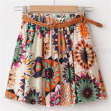 Casual Chiffon Mini Skirts Elastic Waist Flowers Dots Print A-line Pleated With Lining - Chittili