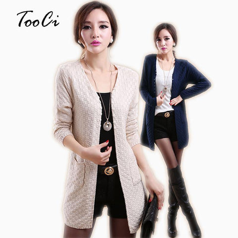 Summer Women Cardigan Casual Long Sleeve Knitted Cardigans Ladies Sweaters Fashion Long Cardigan Coat With Pockets - Chittili
