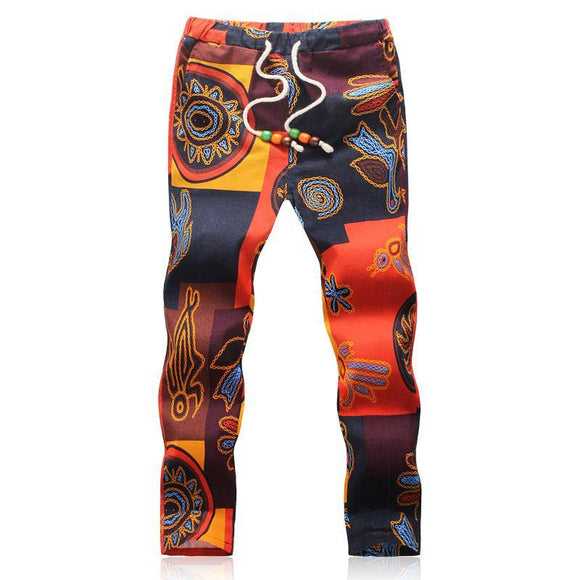 2018 Summer Designer Linen Pants Men Printing Casual Jogger Pants Boys - Chittili