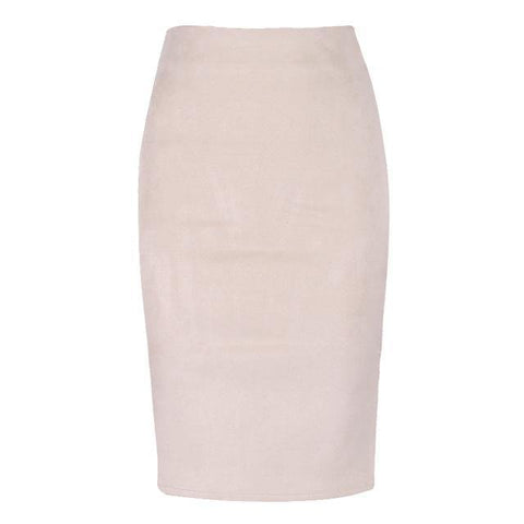 Fashion Empire Skirts 2018 Spring Faux Suede Pencil Skirt High Waist Bodycon Split Thick Stretchy Skirts - Chittili