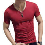 Elastic V Neck Men T Shirt Mens Fashion Short Sleeve Tshirt Fitness Casual Male T-shirt 2018 Brand Clothing Tee Tops 5XL 8J0129 - Chittili