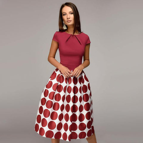 Vintage Dot Print Summer Casual Dress Women Fit and Flare Party Dress 2018 Summer O-Neck Short Sleeve Fold Elegant Mid Dresses - Chittili
