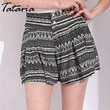 Tataria Wide Leg High Waisted Shorts For Women Summer Loose Women'S Shorts With High Waist Femme Causal Floral Print Causal - Chittili
