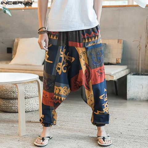 Elastic Waist Loose Hip-hop Cross-Pants Wide Leg Linen Harem Pants - Chittili