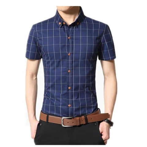 Men Shirt Men's Shorts Sleeve Slim Fit Checkered   Dress Shirt 2018 Summer Camisa Social Masculina Chemise Homme - Chittili