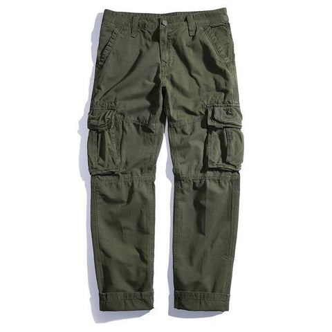 Pants Cargo Men Blue Cotton Full Length Khaki Black Army Green Military Style Many Pockets Casual Pants Male Straight Trousers - Chittili