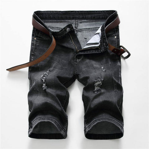 New Black Ripped Denim Shorts Stretch Men's Jeans Capri Korean Skinny Men's Straight Fit Bermuda Breathable Denim Shorts Male freeshipping - Chittili