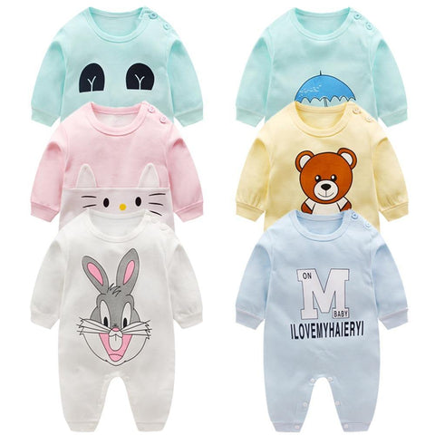 Newborn baby clothes 100% Cotton Long Sleeve Spring Autumn Baby Rompers Soft Infant Clothing toddler baby boy girl jumpsuits - Chittili
