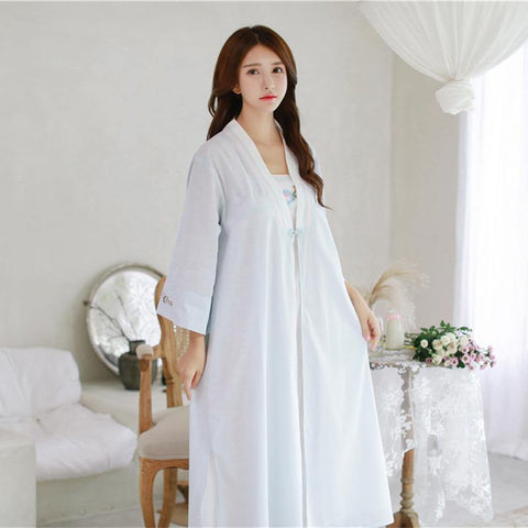 Robe Nightgown Girl Women Sleepwear Embroidery Long Robe Chinese retro style Robe Set freeshipping - Chittili