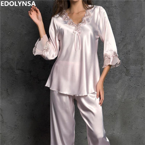 Sexy Silk Satin Pajama Set Lace Pyjama Set Long Pijama Set V-neck Sleepwear Autumn Home Wear Sleep Wear For Women freeshipping - Chittili